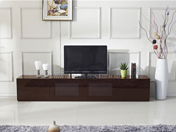 2 4m High Gloss Brown Grandora Tv Cabinet