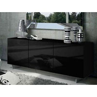 1.8m Black High Gloss Oxford Buffet