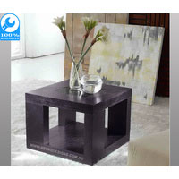 Brown Atlantic Side Table With Centered Glass Top