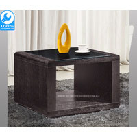 Brown Metro Side Table With Tempered Glass Top