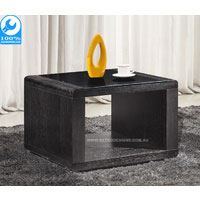 Metro Black Side Table With Tempered Glass Top