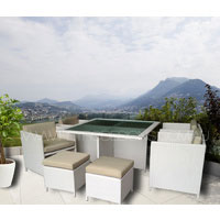 The Miller 8 Seater White Wicker Outdoor Dining Set