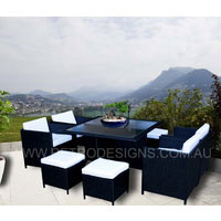 The Miller 8 Seater Black Wicker Outdoor Dining Set