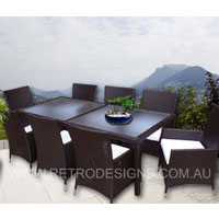 Brown Millana 8 Seater Wicker Outdoor Dining