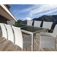 Millana White Wicker Outdoor Dining With High Back Chairs