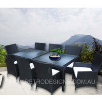 Millana 8 Seater Wicker Outdoor Dining With High Back Chairs