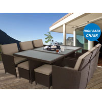 Brown Centra 12 Seater Wicker Outdoor Dining