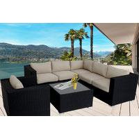 Black Endora Corner Outdoor Wicker Furniture Lounge