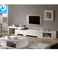 White Gloss Retro Extendable TV Cabinet