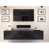 1.8m Majeston Black Floating TV Cabinet