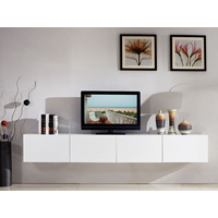 2.4m Majeston White Floating TV Cabinet