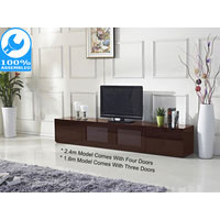 2.4m High Gloss Brown Grandora TV Cabinet
