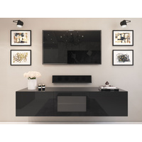 1.8m Black Glacia Floating TV Unit