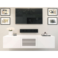 1.8m White Glacia Floating TV Unit