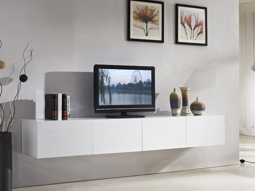Majeston white floating tv cabinet for Floating console table ikea