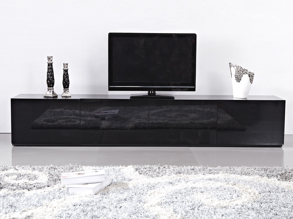 2 4m High Gloss Black Suprilla Tv Unit