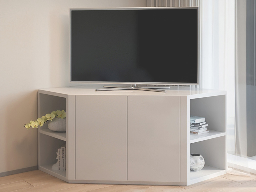 Zenova White Corner Entertainment Unit