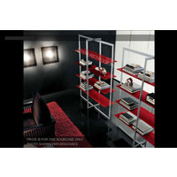 Glacia Display Cabinet With Red Glass Shelves