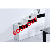 Tetra White High Gloss Buffet With Black Contrast