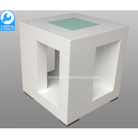 White Atlantic Side Table With Centered Glass Top
