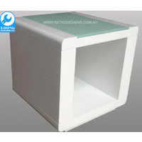 White Metro Side Table With Tempered Glass Top