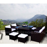 The Miller 8 Seater Brown Wicker Outdoor Dining Set