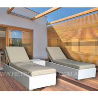 The Suntra Wicker Outdoor White Sun Beds 3 Piece