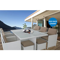 Centra 12 Seater White Wicker Outdoor Dining