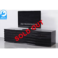 1.6m Black High Gloss Wavern TV Unit