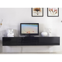 2.4m Majeston Black Floating TV Cabinet